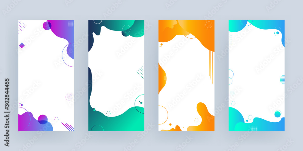 Fototapeta Collection of different color fluid art effect background with space for your message on white background.