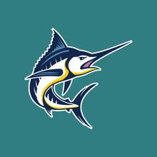 Marlin Fish Logo.Sword Fish Fishing Emblem For Sport Club. Angry Marlin Fishing Background Theme Vector Illustration.