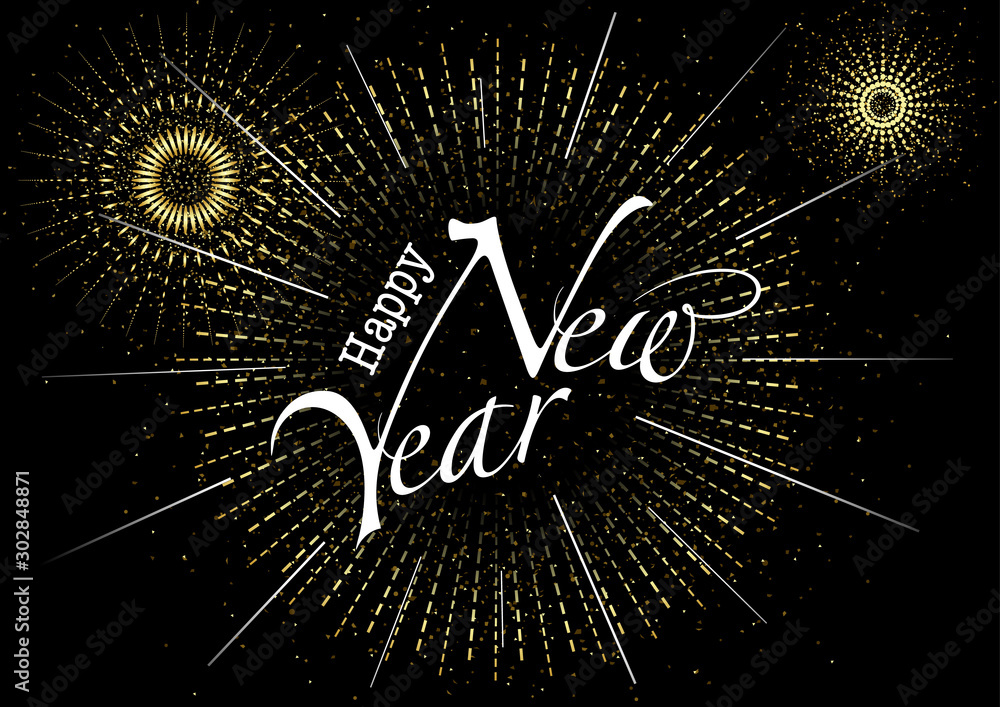 Fototapety, obrazy: Happy New Year Greeting with Inscription and Fireworks Burst in Gold - Abstract Background Illustration or Invitation Card etc., Vector Graphic
