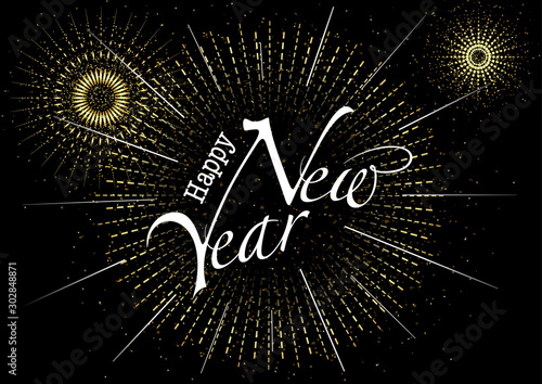 Obraz Happy New Year Greeting with Inscription and Fireworks Burst in Gold - Abstract Background Illustration or Invitation Card etc., Vector Graphic - fototapety do salonu