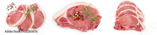 sliced raw pork meat isolated on white background Wallpaper Mural