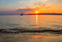 Single Sailing Ship On The Sea...