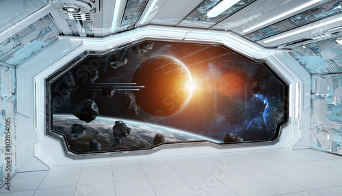 Fotobehang Vrouw gezicht White blue spaceship futuristic interior with window view on space and planets 3d rendering