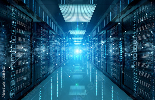 Connection network in servers data center room storage systems 3D rendering Fototapeta