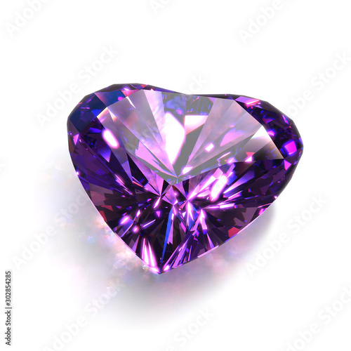 Large Sparkling Heart Shape Cut Crystal of Purple Amethyst Close-Up Canvas Print