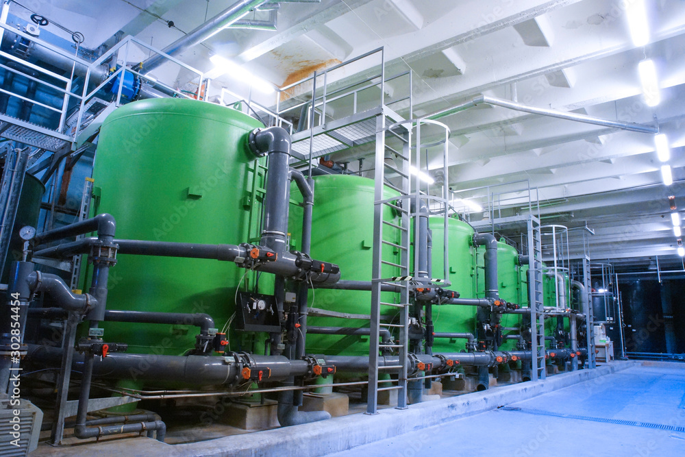 Fototapety, obrazy: water treatment tanks at industrial power plant