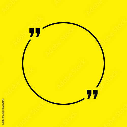 Photo Quotation blank template in quotes isolated on Yellow