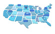 3d separated American states map with factories. Vector illustration isolated on white background