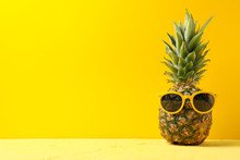 Pineapple With Sunglasses On Y...