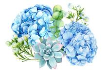 Bouquet Of Blue Flowers, Eucal...