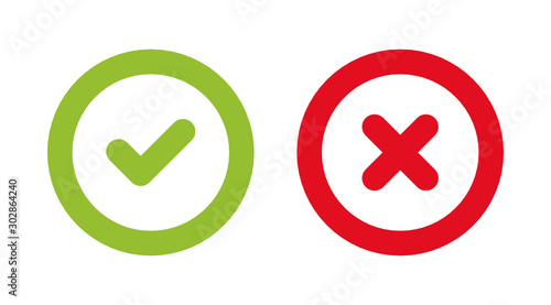 Fototapeta Check green mark and Red Wrong icon