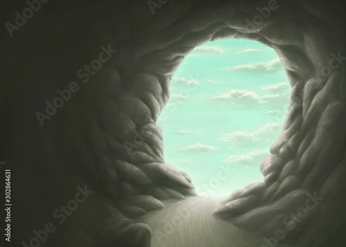 Obraz Freedom and hope concept , surreal cave human head with the sky, mind, imagination, painting illustration - fototapety do salonu