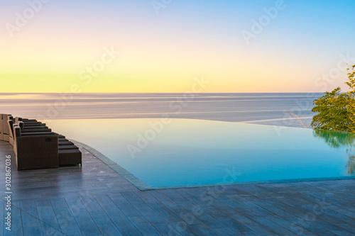 Foto auf Leinwand Gelb Schwefelsäure Infinity Edge Swimming Pool Water, Beautiful Black Sea View at sunset.