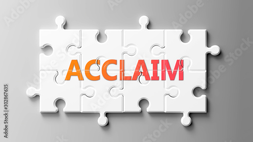 Photo Acclaim complex like a puzzle - pictured as word Acclaim on a puzzle pieces to s