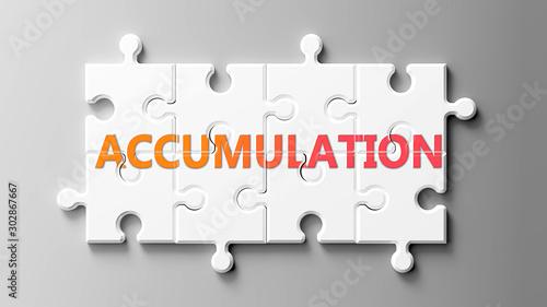 Photo Accumulation complex like a puzzle - pictured as word Accumulation on a puzzle p