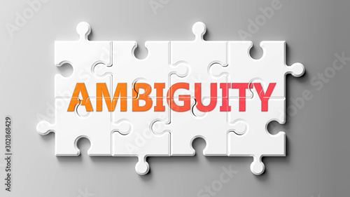 Ambiguity complex like a puzzle - pictured as word Ambiguity on a puzzle pieces Canvas Print