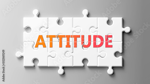 Attitude complex like a puzzle - pictured as word Attitude on a puzzle pieces to Canvas Print