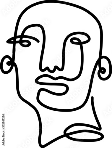 abstract face one line art illustration continuous1 lines cubist faces figurativ Canvas Print