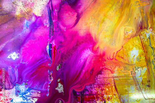 colorful of wet printing ink on printing plate Wallpaper Mural