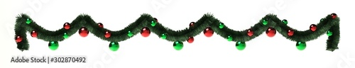 Fotografie, Tablou décoration de Noël, guirlande et boules sur fond blanc