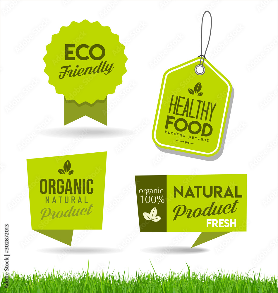 Fototapety, obrazy: Healthy natural food labels organic tags