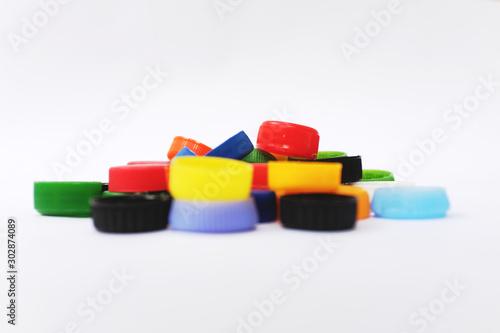 colorful plastic caps of PET bottles