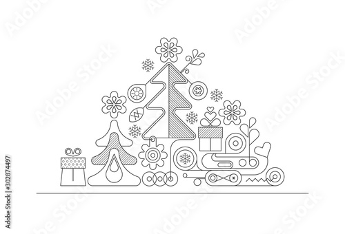 Wall Murals Abstract Art Christmas Tree line art design