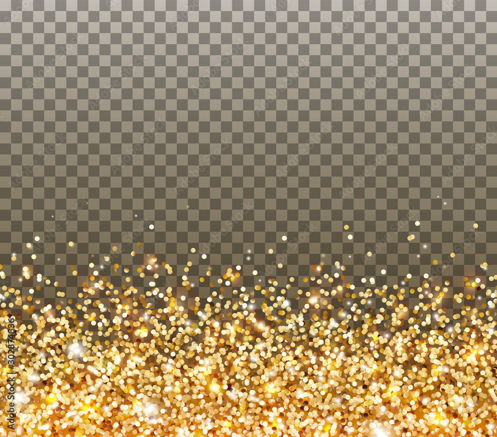 Fototapety, obrazy: Gold glitter particles and light effect sparks isolated on transparent background. Vector glow golden shimmer confetti texture for Christmas, New Year luxury card design.