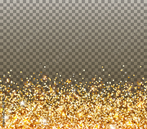 Obraz Gold glitter particles and light effect sparks isolated on transparent background. Vector glow golden shimmer confetti texture for Christmas, New Year luxury card design. - fototapety do salonu