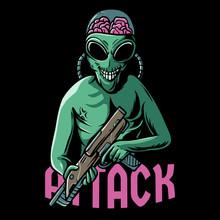 Alien Attack Illustration. Ali...