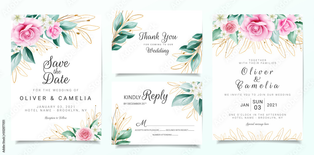 Fototapeta Elegant wedding invitation card template set with flowers decoration and outlined glitter leaves. Peach roses illustration for background, save the date, invitation, greeting card, poster