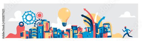 Fotografía  Modern city planning concept. Vector illustration