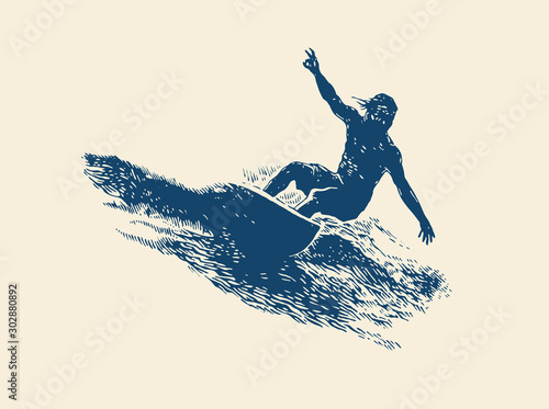 Canvas Print Surfing  Logo Design. Surfer And Wave. Vector Illustration.