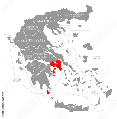 Photo Attica red highlighted in map of Greece