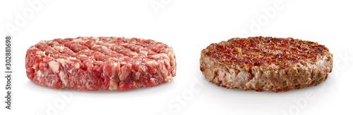 Canvastavla Raw and cooked hamburger patties isolated on white background
