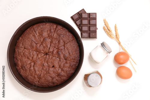 chocolate cake and ingredient isolated on white background Canvas-taulu