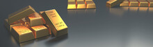 Stacked Gold Bars On A Bright ...