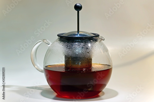 Fotografie, Tablou French press glass brewing teapot with black tea