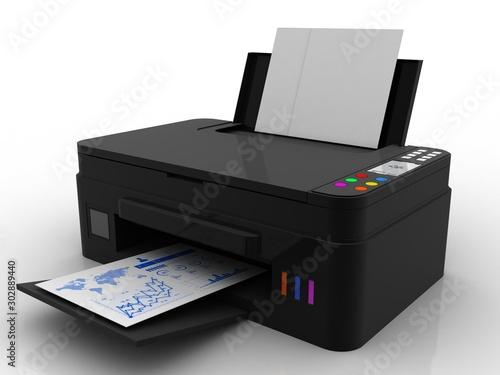 Fotografía 3d illustration Generic inkjet printer CMYK cartridges