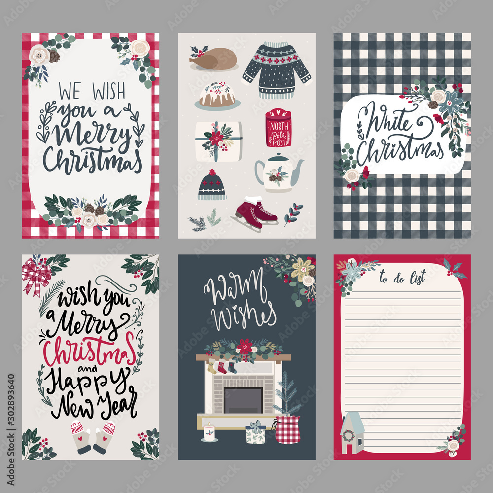Fototapeta Set of Merry Christmas greeting hand drawn lettering cards in traditional farmhouse style,vertical banners,invitations. cards with christmas florals and winter objects in handdrawn scandinavian style