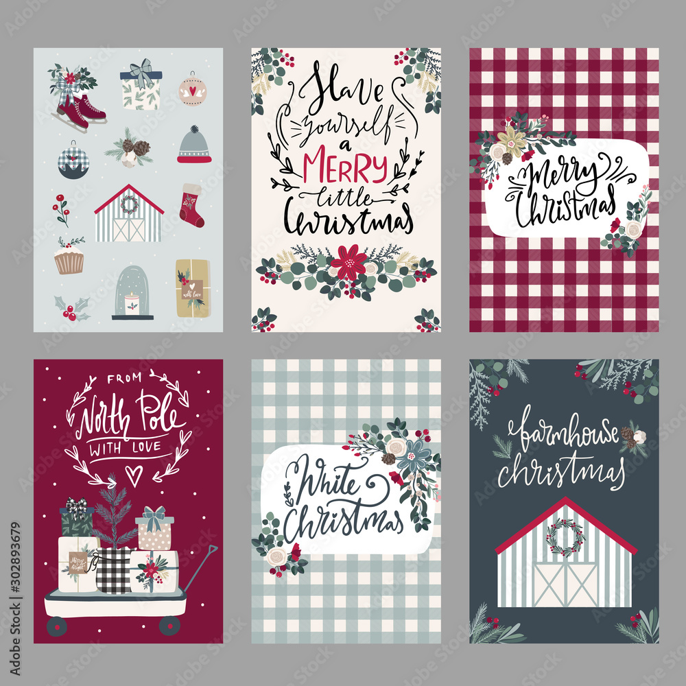 Fototapeta Set of Merry Christmas greeting hand drawn lettering cards in traditional farmhouse style,banners,invitations. Happy New Year, Happy Holidays cards winter florals and winter objects scandinavian style