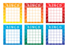 Set Of Lottery Tickets For American Bingo Game. Bright Templates With Multicolored Glowing Background With Stars. Vector Illustration