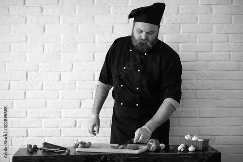 Obraz na plátně cook black and white photo