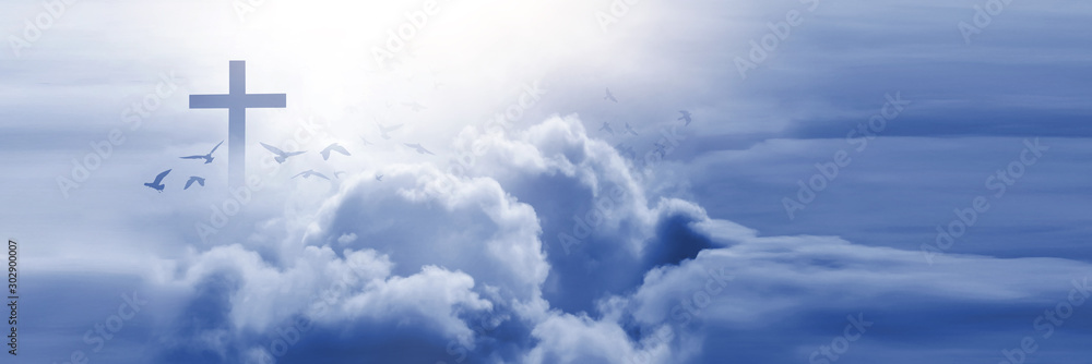 Fototapety, obrazy: Christian cross appeared bright in the sky with soft fluffy clouds, white, beautiful colors. With the light shining as hope, love and freedom in the sky background