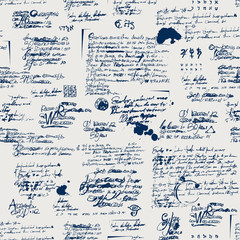 Vector seamless pattern with spots, ink blots, illegible entries and notes. Abstract background with unreadable scribbles imitating handwritten text. Suitable for wallpaper, wrapping paper or fabric