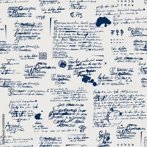 Fototapeten Künstlich Vector seamless pattern with spots, ink blots, illegible entries and notes. Abstract background with unreadable scribbles imitating handwritten text. Suitable for wallpaper, wrapping paper or fabric