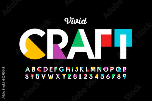 Modern vivid color style font, vibtant alphabet, letters and numbers Canvas