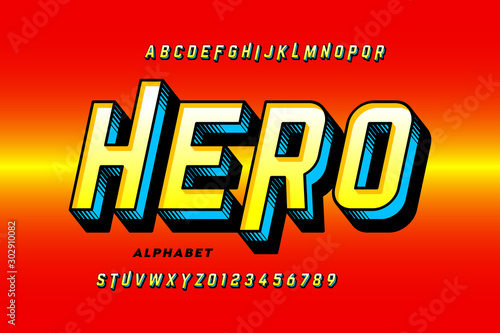 Fotomural Comics style super hero font, alphabet letters and numbers