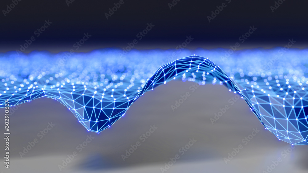 Fototapety, obrazy: Futuristic polygonal background of low poly surface with connected dots and lines. Abstract 3d rendering.