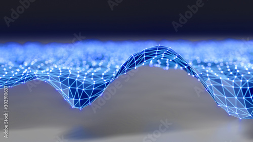 Obraz Futuristic polygonal background of low poly surface with connected dots and lines. Abstract 3d rendering. - fototapety do salonu